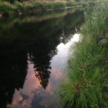 Evening sky reflected in a smooth-as-glass Feather River
